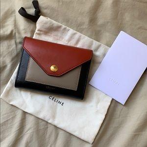 Celine Tricolor Envelope Trifold Wallet